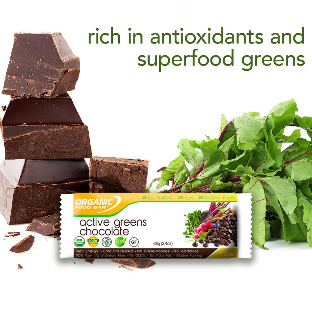 Organic Food Bar - Active Greens Chocolate - Box of 12