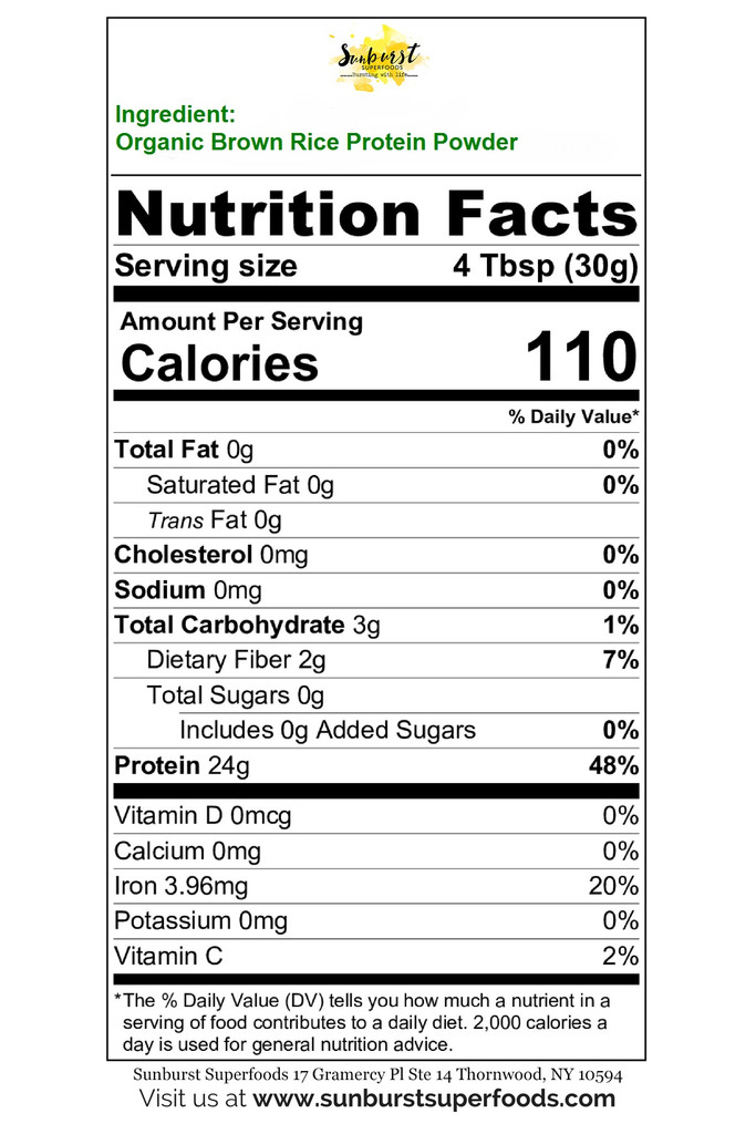 Bio-Fermented Brown Rice Protein Powder | Nutrition Facts