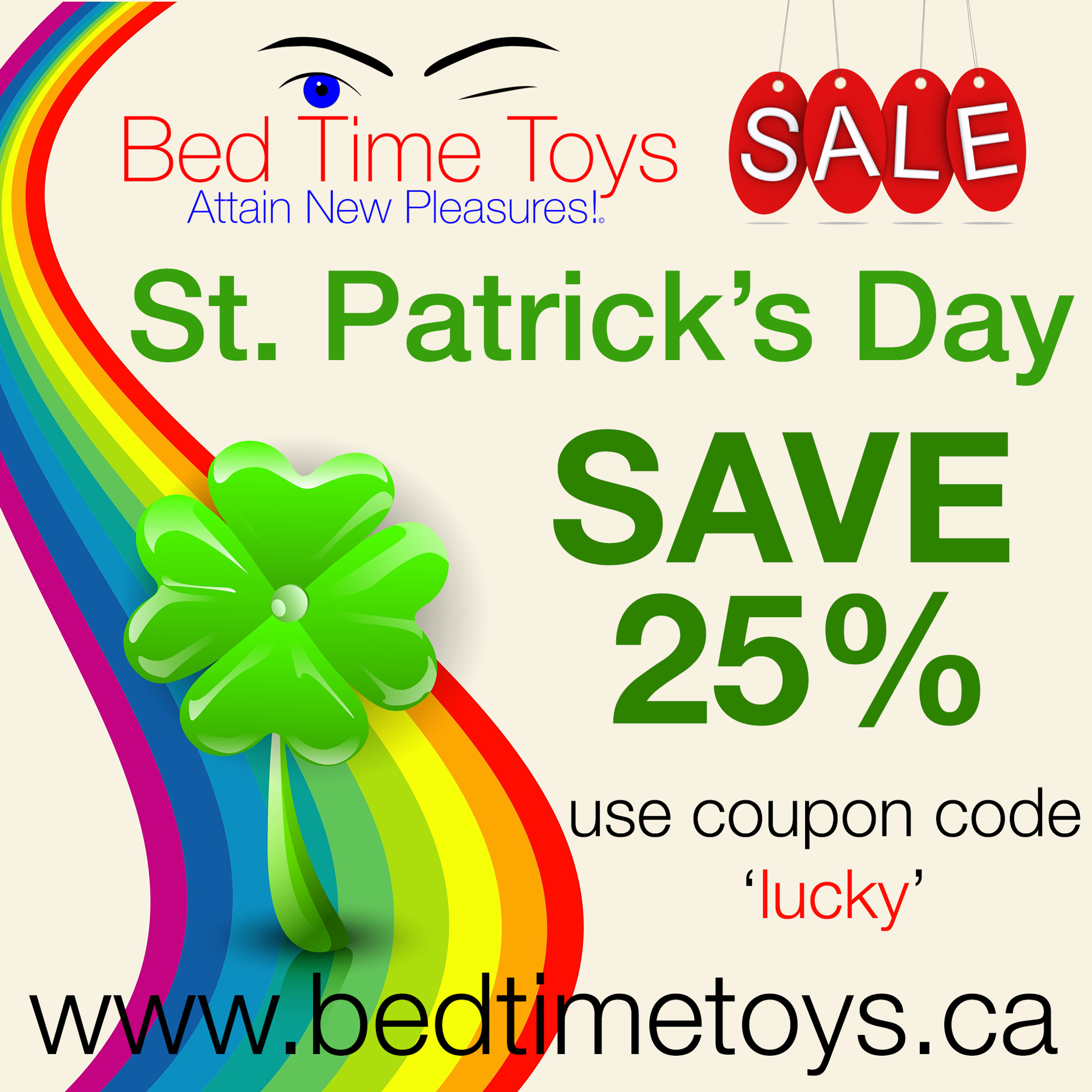 St. Patrick's Day Sale at Bed Time Toys, Sex Toys Canada