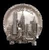"New York Statue of Liberty & Buildings Souvenir Plate- Silver 8"""