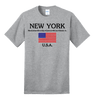 New York with American Flag Ash Tee