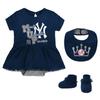 Yankees Baby Creeper Dress Bib & Booties 3-pc Set - MVP Princess