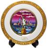 NYC Purple Skyline Gold Edged Souvenir Plate - 4 Inch