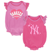 Yankees Pink Sparkle Creepers 2-PC Set