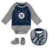 Yankees Baby Coverall Bib & Booties 3-pc Set - Navy & Grey