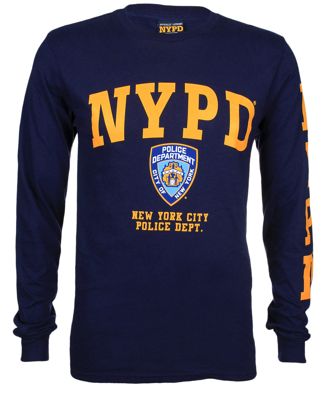 NYPD Navy Blue Sleeve Badge New York Police Department T-shirt Tee Men Unisex
