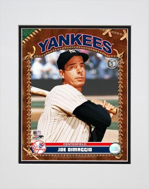 Joe Dimaggio Baseball Card Pose Matted 8x10