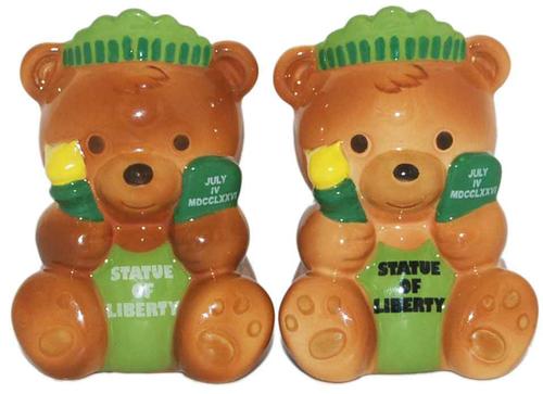 NYC Statue of Liberty Teddy Bear Salt & Pepper Shakers