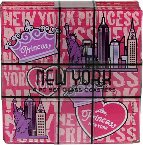 NYC Princess 4pc Set Glass Coasters
