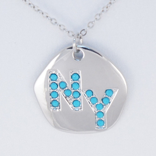 NY Turquoise Rhinestone Necklace -Silver