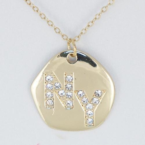 NY Rhinestone Necklace -Gold