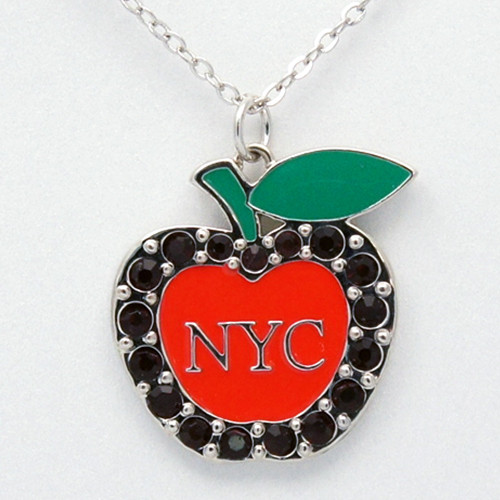 NY Big Apple Red Rhinestone Necklace