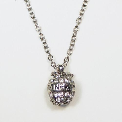 NY 3D Rhinestone Apple Charm Necklace