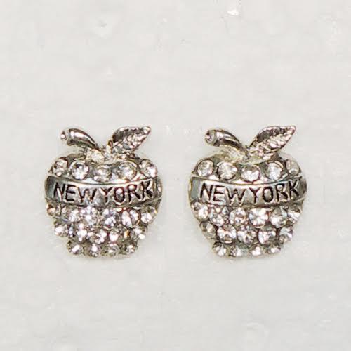NY Apple Rhinestone Earrings