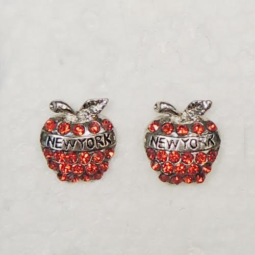 NY Apple Red Rhinestone Earrings