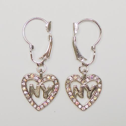 NY Heart Rhinestone Hanging Earrings