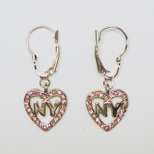 NY Heart Pink Rhinestone Hanging Earrings