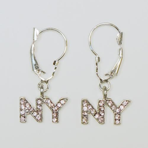 NY Pink Rhinestone Letters Hanging Earrings