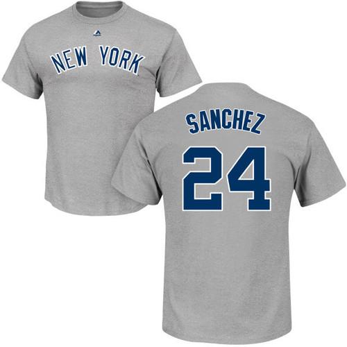 Gary Sanchez T-Shirt - Grey NY Yankees Adult T-Shirt