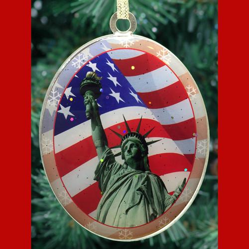 Statue of Liberty American Flag Christmas Ornament