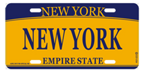 New York License Plate- Orange