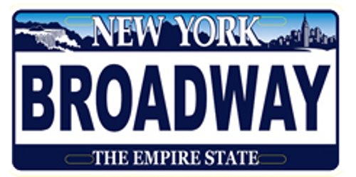 Broadway License Plate Magnet- White
