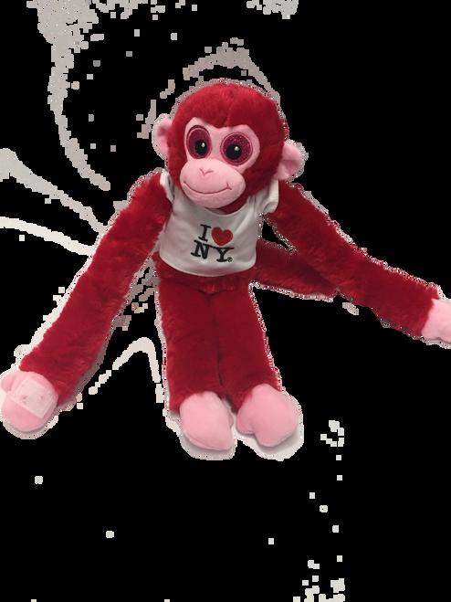 I Love NY Red Plush Screaming Monkey with Sparkly Eyes