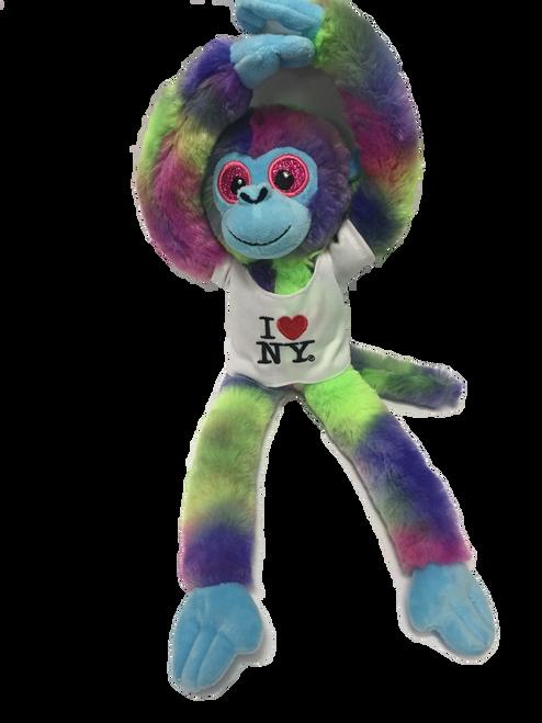 I Love NY Tie Dyed Plush Screaming Monkey with Sparkly Eyes
