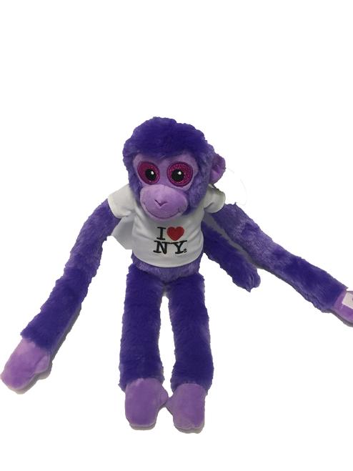 I Love NY Purple Plush Screaming Monkey with Sparkly Eyes