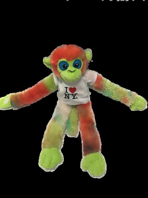 I Love NY Light Tie Dyed Plush Screaming Monkey with Sparkly Eyes