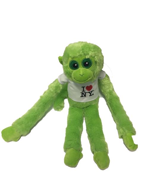 I Love NY Green Plush Screaming Monkey with Sparkly Eyes
