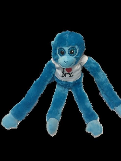 I Love NY Blue Plush Screaming Monkey with Sparkly Eyes