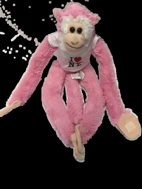 I Love NY Pink Plush Screaming Monkey