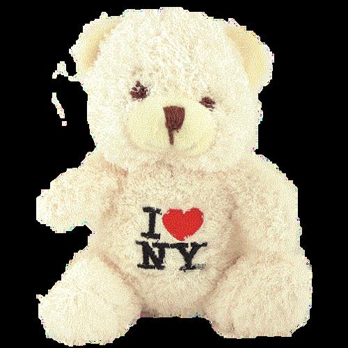 I Love NY Cream Small Sized Hairy Plush Teddy Bear