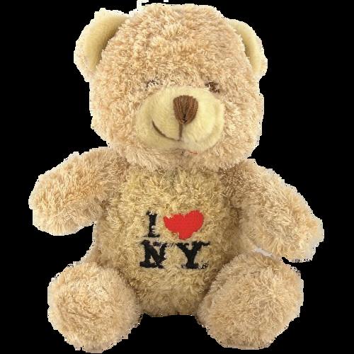 I Love NY Light Brown Small Sized Hairy Plush Teddy Bear