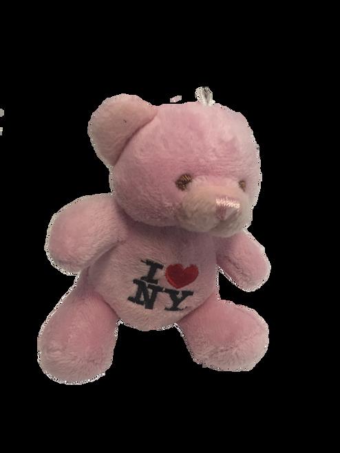 I Love NY Pink Plush Teddy Bear Key Chain