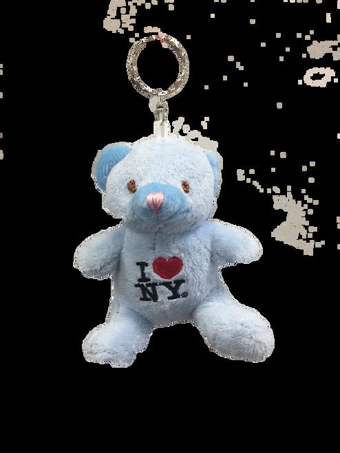 I Love NY Blue Plush Teddy Bear Key Chain