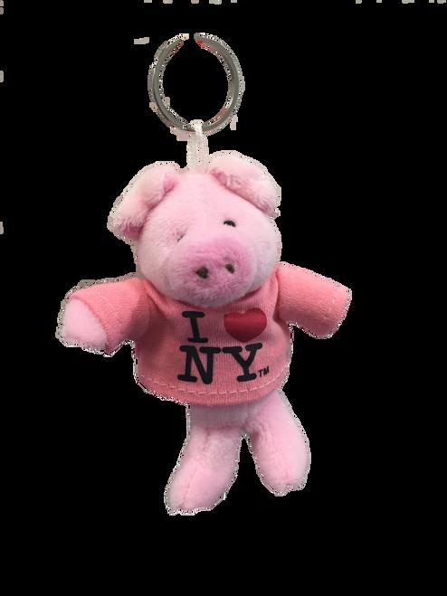I Love NY Pig Plush Key Chain
