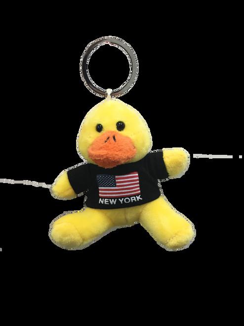 New York American Flag Plush Duck Black T-Shirt