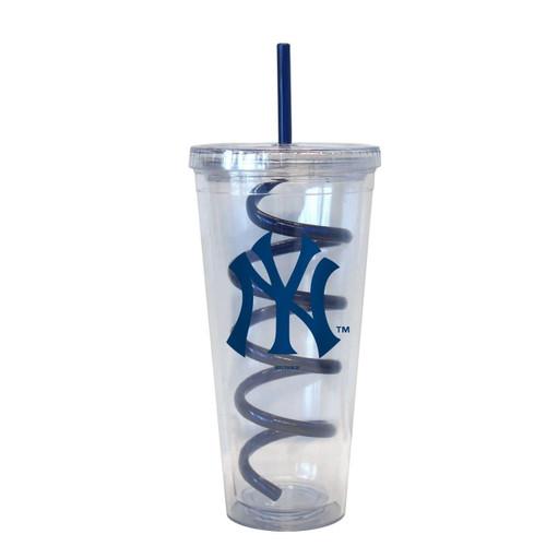 NY Yankees Plastic Tall Tumbler with Swirly Straw