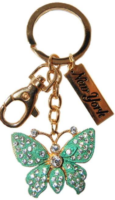 Butterfly Green/Clear Key Ring with Gold Diamonds & New York Tag