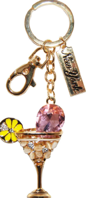 Gold Cocktail Shape Key Ring with Diamonds & New York Tag