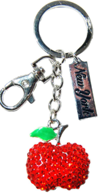 Red Apple Key Ring with Green Leaf with Diamonds & New York Tag