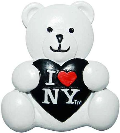 I Love NY White/Black Heart Poly Bear Magnet