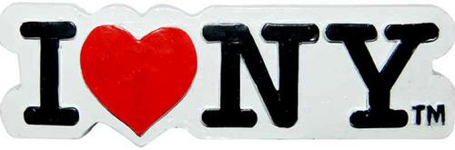 Poly White Shaped I Love NY Magnet