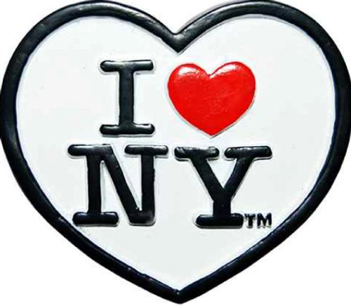 Poly White Heart Shaped I Love NY Magnet