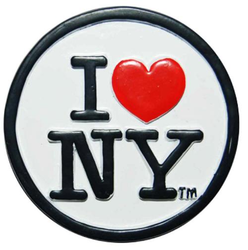 Poly White Circle Shaped I Love NY Magnet