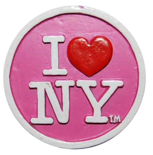 Poly Pink Circle Shaped I Love NY Magnet