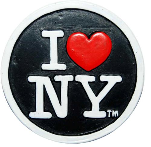 Poly Black Circle Shaped I Love NY Magnet