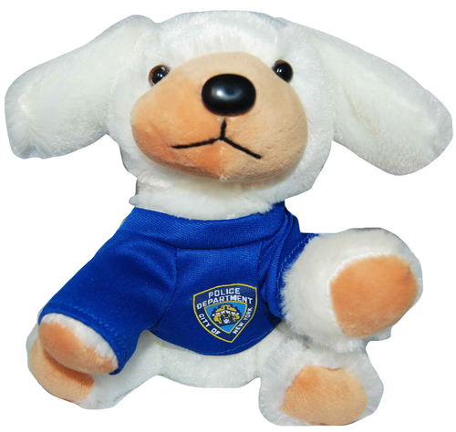 NYPD White Plush Puppy in Blue/ Logo T- Shirt